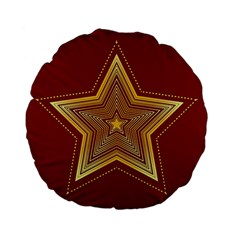 Christmas Star Seamless Pattern Standard 15  Premium Flano Round Cushions by BangZart