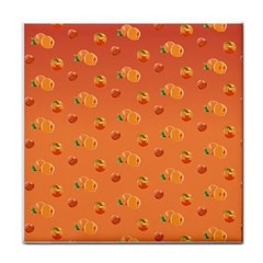 Peach Fruit Pattern Tile Coasters by paulaoliveiradesign