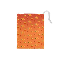 Peach Fruit Pattern Drawstring Pouches (small)  by paulaoliveiradesign