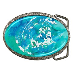 Blue Watercolors Circle                          Belt Buckle by LalyLauraFLM