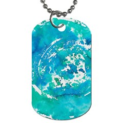 Blue Watercolors Circle                          Dog Tag (one Side) by LalyLauraFLM