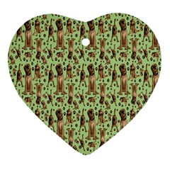 Puppy Dog Pattern Ornament (heart) by BangZart