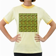 Puppy Dog Pattern Women s Fitted Ringer T-shirts