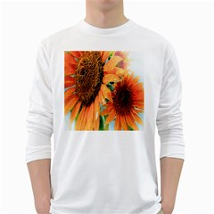 Sunflower Art  Artistic Effect Background White Long Sleeve T Shirts