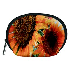Sunflower Art  Artistic Effect Background Accessory Pouches (medium)  by BangZart