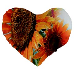Sunflower Art  Artistic Effect Background Large 19  Premium Flano Heart Shape Cushions by BangZart