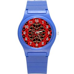 Fractal Wallpaper With Red Tangled Wires Round Plastic Sport Watch (s) by BangZart