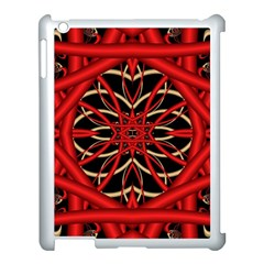 Fractal Wallpaper With Red Tangled Wires Apple Ipad 3/4 Case (white) by BangZart