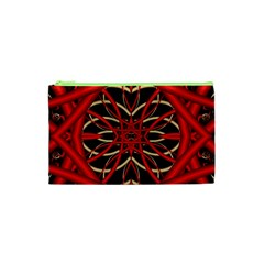 Fractal Wallpaper With Red Tangled Wires Cosmetic Bag (xs)