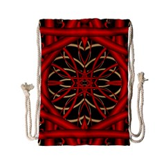 Fractal Wallpaper With Red Tangled Wires Drawstring Bag (small) by BangZart