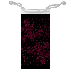 Pink Floral Pattern Background Wallpaper Jewelry Bag