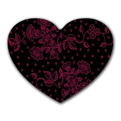 Pink Floral Pattern Background Wallpaper Heart Mousepads by BangZart