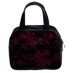Pink Floral Pattern Background Wallpaper Classic Handbags (2 Sides)