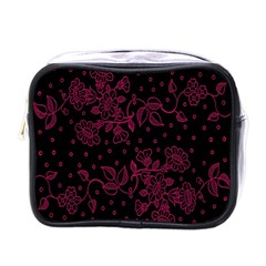 Pink Floral Pattern Background Wallpaper Mini Toiletries Bags by BangZart