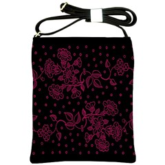 Pink Floral Pattern Background Wallpaper Shoulder Sling Bags by BangZart