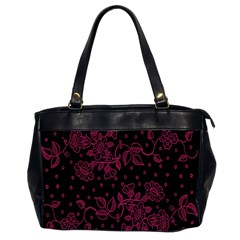 Pink Floral Pattern Background Wallpaper Office Handbags (2 Sides)  by BangZart
