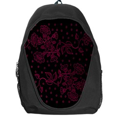 Pink Floral Pattern Background Wallpaper Backpack Bag by BangZart