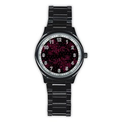 Pink Floral Pattern Background Wallpaper Stainless Steel Round Watch by BangZart