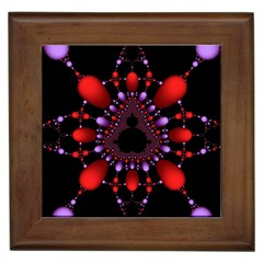 Fractal Red Violet Symmetric Spheres On Black Framed Tiles by BangZart