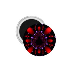 Fractal Red Violet Symmetric Spheres On Black 1 75  Magnets by BangZart