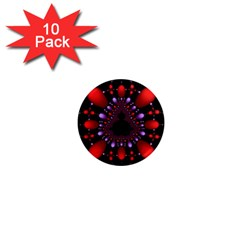 Fractal Red Violet Symmetric Spheres On Black 1  Mini Magnet (10 Pack)  by BangZart