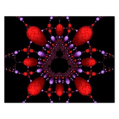 Fractal Red Violet Symmetric Spheres On Black Rectangular Jigsaw Puzzl