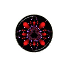 Fractal Red Violet Symmetric Spheres On Black Hat Clip Ball Marker by BangZart