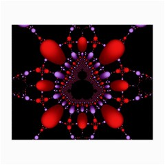 Fractal Red Violet Symmetric Spheres On Black Small Glasses Cloth