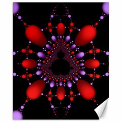Fractal Red Violet Symmetric Spheres On Black Canvas 16  X 20   by BangZart