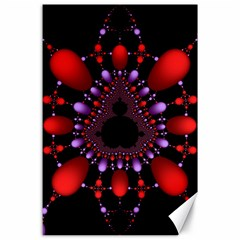 Fractal Red Violet Symmetric Spheres On Black Canvas 24  X 36  by BangZart