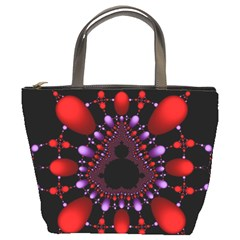Fractal Red Violet Symmetric Spheres On Black Bucket Bags by BangZart