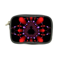 Fractal Red Violet Symmetric Spheres On Black Coin Purse by BangZart