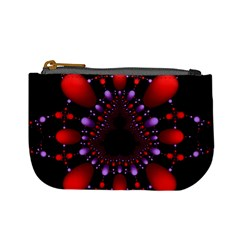 Fractal Red Violet Symmetric Spheres On Black Mini Coin Purses by BangZart