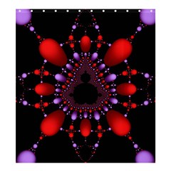 Fractal Red Violet Symmetric Spheres On Black Shower Curtain 66  X 72  (large)  by BangZart