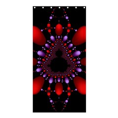 Fractal Red Violet Symmetric Spheres On Black Shower Curtain 36  X 72  (stall)  by BangZart