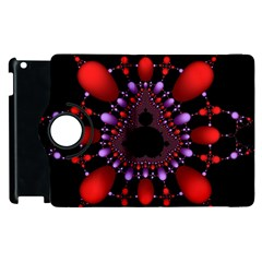 Fractal Red Violet Symmetric Spheres On Black Apple Ipad 2 Flip 360 Case by BangZart