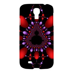 Fractal Red Violet Symmetric Spheres On Black Samsung Galaxy S4 I9500/i9505 Hardshell Case by BangZart
