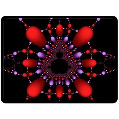 Fractal Red Violet Symmetric Spheres On Black Double Sided Fleece Blanket (large)