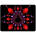Fractal Red Violet Symmetric Spheres On Black Double Sided Fleece Blanket (Large)  80 x60  Blanket Back