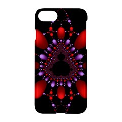 Fractal Red Violet Symmetric Spheres On Black Apple Iphone 7 Hardshell Case
