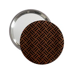Woven2 Black Marble & Brown Wood (r) 2 25  Handbag Mirror by trendistuff