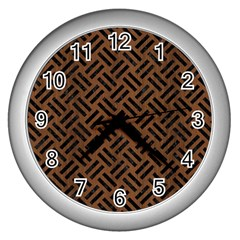 Woven2 Black Marble & Brown Wood (r) Wall Clock (silver) by trendistuff