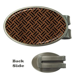 Woven2 Black Marble & Brown Wood (r) Money Clip (oval) by trendistuff