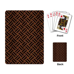 Woven2 Black Marble & Brown Wood (r) Playing Cards Single Design