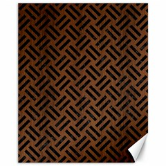 Woven2 Black Marble & Brown Wood (r) Canvas 11  X 14  by trendistuff