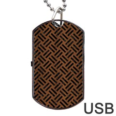 Woven2 Black Marble & Brown Wood (r) Dog Tag Usb Flash (one Side) by trendistuff