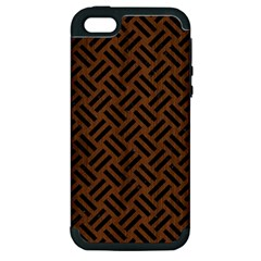 Woven2 Black Marble & Brown Wood (r) Apple Iphone 5 Hardshell Case (pc+silicone) by trendistuff