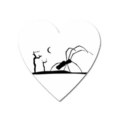Dark Scene Silhouette Style Graphic Illustration Heart Magnet by dflcprints