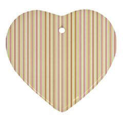 Stripes Pink And Green  Line Pattern Heart Ornament (two Sides) by paulaoliveiradesign