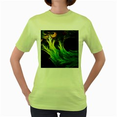 A Seaweed s Deepdream Of Faded Fractal Fall Colors Women s Green T Shirt by jayaprime